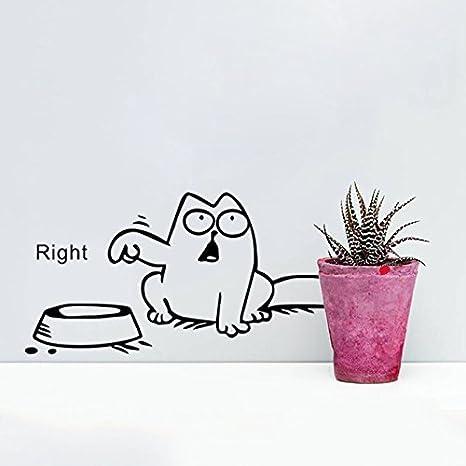 Romote Gato divertido de la historieta del ordenador portátil del vinilo del coche de pegatina pared del tanque ventana Tazón gato Decal Las etiquetas ...