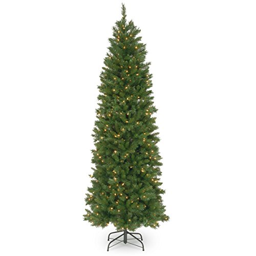 National Tree 7.5 Foot Pennington Fir Pencil Tree with 350 Clear Lights, Hinged - Tips Lights 350 Clear