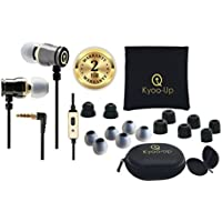 Kyoo-Up O42 In Ear Headphones, Bundle: Noise Isolating Earbuds with Mic, Earphones with case, Earbud Pouch, Premium Foam Ear Tips (Black and Gold earbuds)