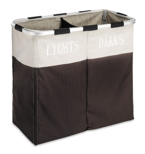 """Whitmor Easycare Double Laundry Hamper - Lights and Darks Separator - Espresso - CAPACITY: 12.50""""x24.75""""x21.50"""", Whitmor's portable hamper conceals dirty laundry EASY ASSEMBLY: No tools are required to assemble this collapsible sorter by Whitmor PORTABLE: Mesh drawstring top keeps laundry in place; built-in handles for easy transport - laundry-room, hampers-baskets, entryway-laundry-room - 41Wy6qxzfdL -"""