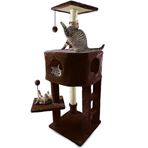FurHaven Pet Cat Tree | Tiger Tough Cat Tree House Furniture for Cats & Kittens, Treehouse, Brown
