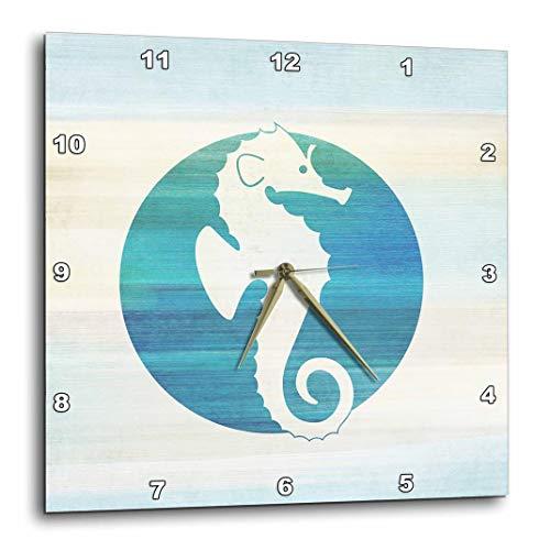 3dRose DPP_152105_1 White Sea Horse in Aqua Circle Beach Theme Art Wall Clock, 10 by 10