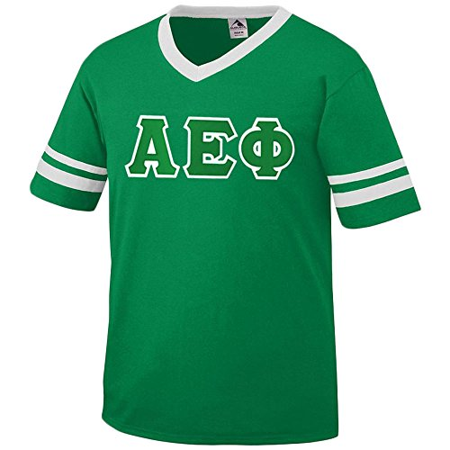 Alpha Epsilon Phi Jersey with Greek Applique Letters Medium Kelly/White