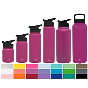 Simple Modern 22oz Summit Water Bottle + Extra Lid - Vacuum Insulated Double Wall Stainless Steel Wide Mouth Hydro Travel Mug - BPA Free Basketball Container - Orchid