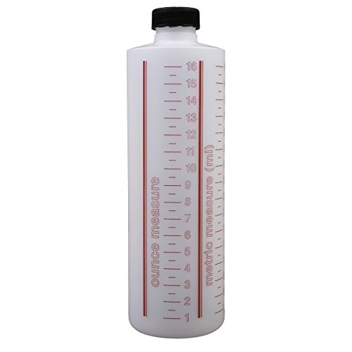 Consolidated Plastics Cylinder Measure Bottle with Cap, HDPE, Natural, 16oz, 12 Piece