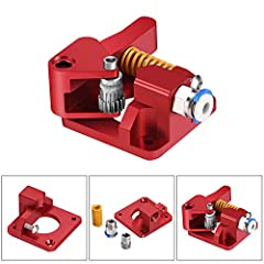 Description: Product name: 3D Printer MK8 Bowden Extruder Used for: all 1.75mm filament Material: full metal aluminum alloy Color: red Pattern: right hand Advantage: 1. Upgrade Dual Gears, easy for feeding, no blocking, better pressure pushes...
