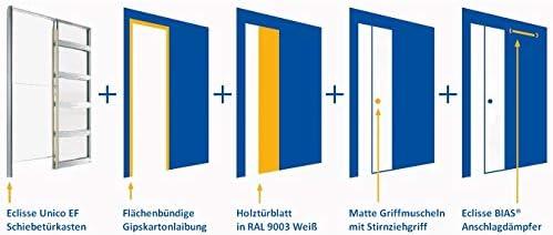 Puerta corredera Eclisse juego completo en la pared, grosor de la pared 125 mm, sin aros, estructura en seco, incluye hoja de madera en blanco, amortiguador de alimentación unilateral BIAS cartón yeso,