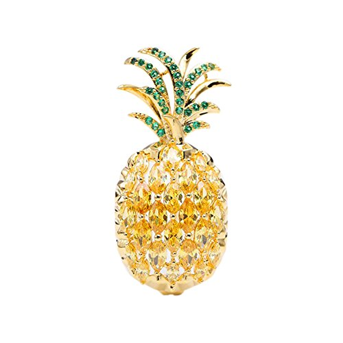 Fruit Pin Brooch (SHANLIHUA Small Pineapple Brooch Pins is Cute Fruit Brooch Inlay Zircon for Hats Clothings Bags)
