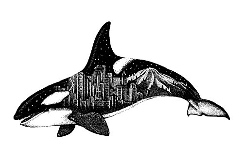 (Orca and Seattle Skyline - Double Exposure (24x36 Giclee Gallery Print, Wall Decor Travel Poster) )