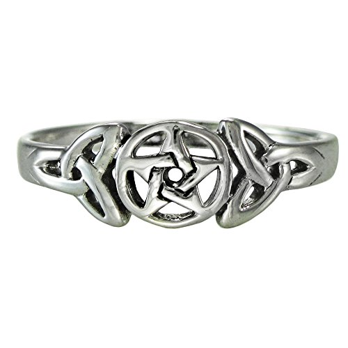Sterling Silver Celtic Knot Pentacle Triquetra Pagan Wiccan Goddess Ring (sz 4-15) sz 7.5 - Sterling Silver Pentacle Ring