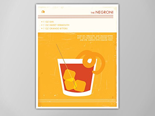 Negroni Cocktail Art Print, Food and Drink Poster, Vintage Style Graphic Art, Mid Century Modern Design Art, Negroni Cocktail, Negroni Print