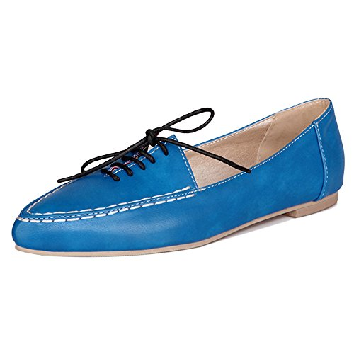 TAOFFEN Women Street Style Lace Up Pointed Toe Court Shoes Casual School Shoes Blue yJyHUjo7DY