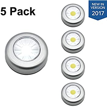 [New Version] TOMOL COB Led Push Lights Battery Operated Stick Anywhere Tap  Lights,Wireless Touch Light For Closets, Cabinets, Trunk,5Pack