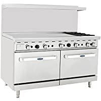 Atosa ATO-48G2B 60 Gas Range. (2) Open Burners and 48 Griddle on the LEFT with Two 26 1/2 Wide Ovens