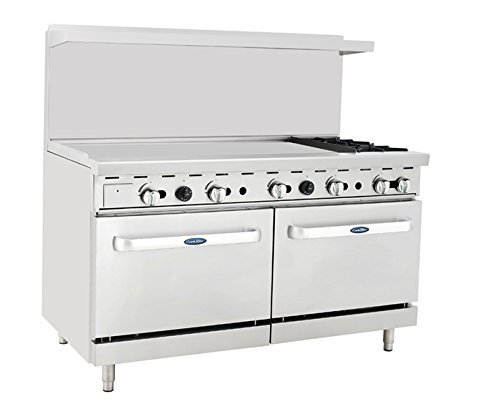 "Atosa ATO-48G2B 60"" Gas Range. (2) Open Burners and 48"" Griddle on the LEFT with Two 26"" 1/2 Wide Ovens"