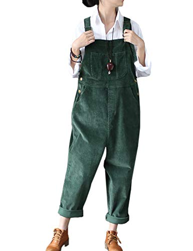 Flygo Women's Vintage Baggy Wide Leg Drop Crotch Corduroy Bib Overalls Jumpsuits Pants (US 8-14, Dark Green)