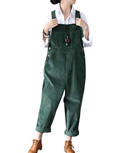 (Flygo Women's Vintage Baggy Wide Leg Drop Crotch Corduroy Bib Overalls Jumpsuits Pants (US 8-14, Dark Green))