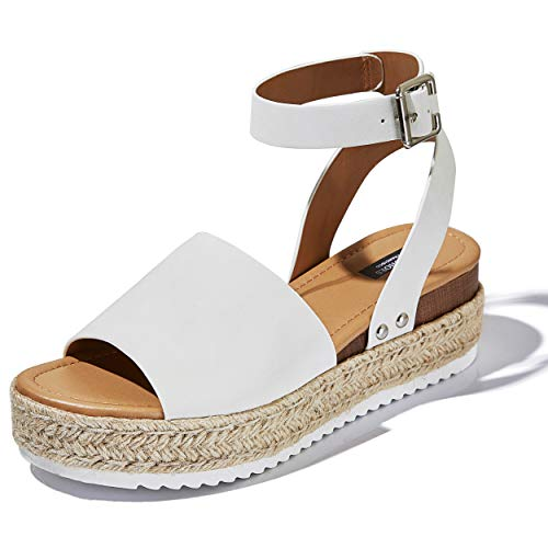 (DailyShoes Women's Chunky Strappy Flat Platform Flatform Sandal Espadrilles Ankle Strap Buckle Fashion Sandals Summer Shoes Party Sexy Bottom Home Travel Walking Must)