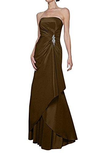 La_mia Braut Einfach Abendkleider Ballkleider Festlichkleider Partykleider Lang Etuikleider mit Langarm Bolero Brautmutterkleider Braun lL9hV