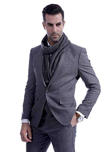 Men Business Striped Warm Scarves Long Classic Pattern Cashmere-like Scarf Stylish Casual Men Neckerchief Black by Panegy (Image #3)