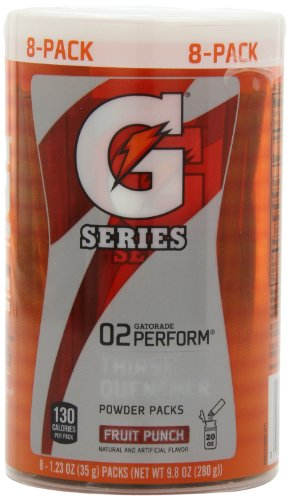 Workout Drink Mix Power Punch (Gatorade G Series Thirst Quencher, Fruit Punch Flavores, 8 - 1.23 oz Packets per Set, ( Pack of 4 ))