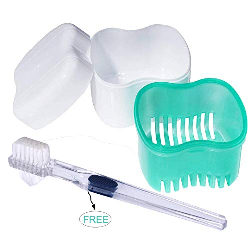 Bearals Denture Box, Denture Cup, Denture Case with Brush, Denture Bath Cleaning Soaking Cup with Strainer, Mouth Guard Night Gum Retainer Container (Green)