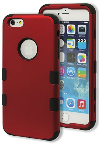 iPhone 6 Plus Case, Bastex Heavy Duty Hybrid Protective Case - Soft Black Silicone Cover with Red Rib Design Hard Shell Case for Apple iPhone 6, 5.5