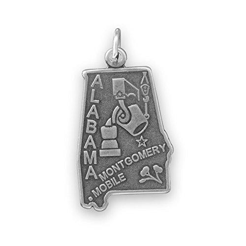 Sterling Silver Alabama State Charm (Alabama State Charm Antiqued Sterling Silver)