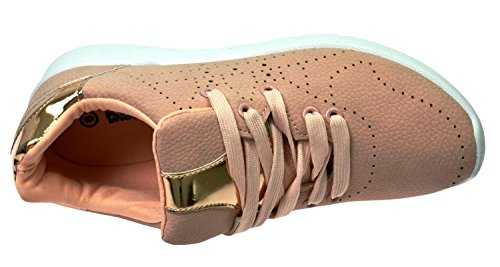 Lace Shoes Jogging Krush Ls0696 nude Trainers Walking up Womens Ladies EnZxw4q6U