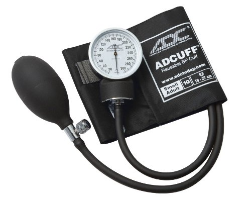 ADC Prosphyg 760 Pocket Aneroid Sphygmomanometer with Adcuff Nylon Blood Pressure Cuff, Small Adult, Black