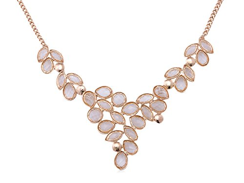 (Alilang Grapevine Elegant Sparkling Crystal Rhinestone Golden Chain Necklace)