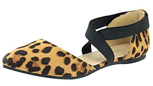 Anna Shoes Womens Elastic Ankle Wrap Strappy dOrsay Pointy Toe Ballet Flat Leopard jKwJB