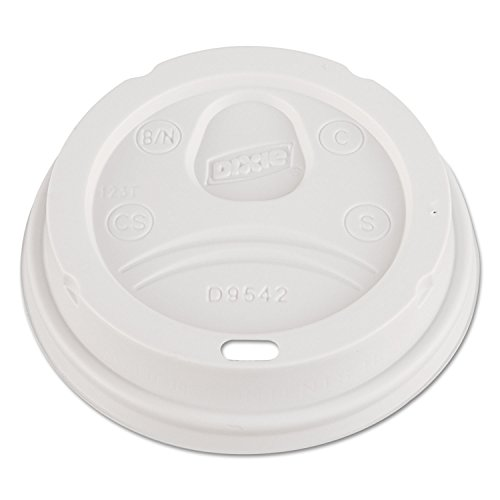 Dixie D9542PK Dome Drink-Thru Lids Fits 12 oz. & 16 oz. Paper Hot Cups White 100/Pack -