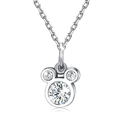 BAMOER 925 Sterling Silver Mouse Birthstone Pendant Necklace for Women and Girls