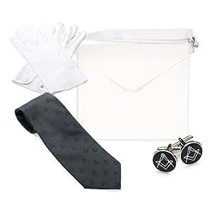 Masónico Masones Craft Regalia entró aprendiz Regalías Value Pack, Lambskin Leather, Gloves Large