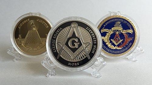 Set of 3  Freemason Collectible Challenge Coins plus free st