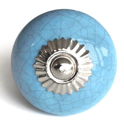 Knobbles and Bobbles Ltd Azure Blue Crackle Knob