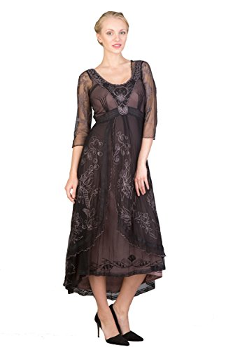 Nataya 40163 Women's Downton Abbey Wedding Dress in Black/Coco (2X)