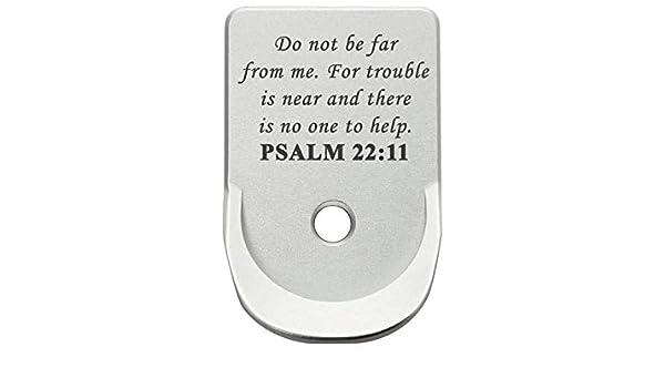 Magazine Base Plate for Glock Gen 1-5 Finger Extended 9MM  357  40 NDZ  Silver Bible Psalm 22:11