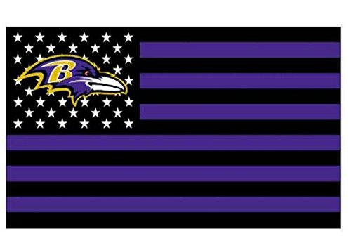 - NFL Baltimore Ravens Stars and Stripes Flag Banner   3X5 FT   USA FLAG, White