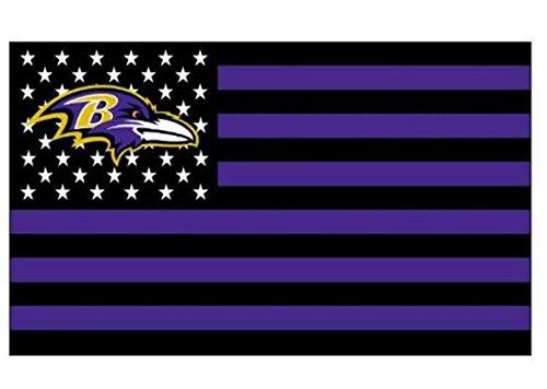 Ravens Baltimore Fan Banner (NFL Baltimore Ravens Stars and Stripes Flag Banner - 3X5 FT - USA FLAG)