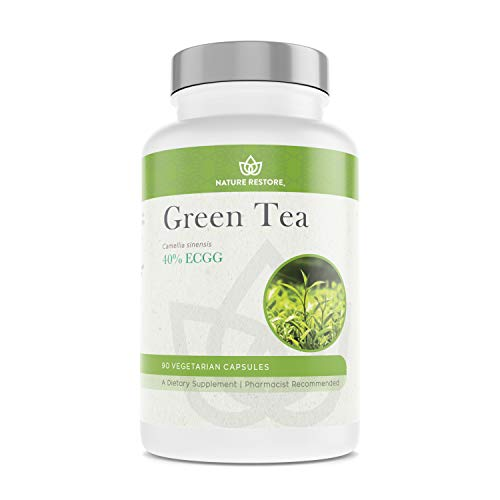 - Nature Restore Green Tea Extract Supplement, 40% EGCG, 90% Polyphenols, Non-GMO, Gluten-Free, Heavy Metals Tested