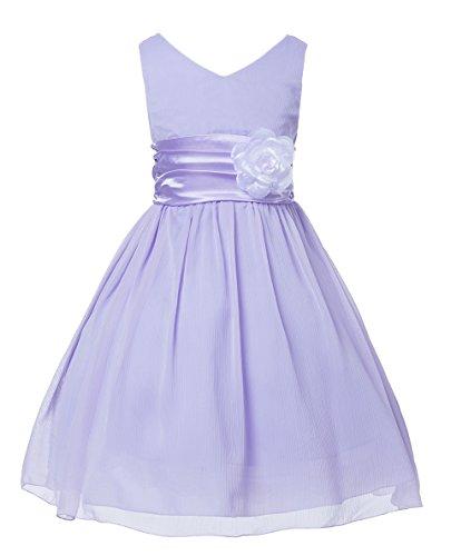 Lilac Flower Girl Dress (V-Neckline Chiffon Flower Girl)