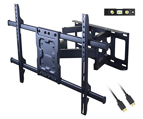 TV Wall Mount Bracket fits to Most 37-70 inch LED,LCD,OLED Flat Panel TVs, Tilt Full Motion Swivel Articulating Arms, Bring Perfect Viewing Angle, Max VESA 600X400, 132lbs Loading-by EVERVIEW