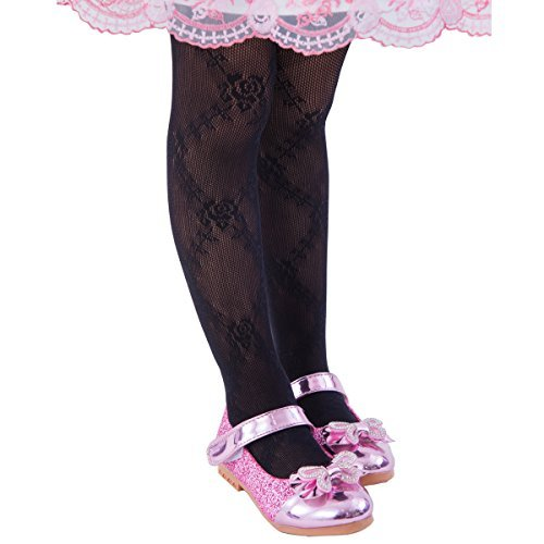 (FUN fun lace fishnet tights(Rose pattern) Kids Girls Dress Party stockings Black 34-53inch)