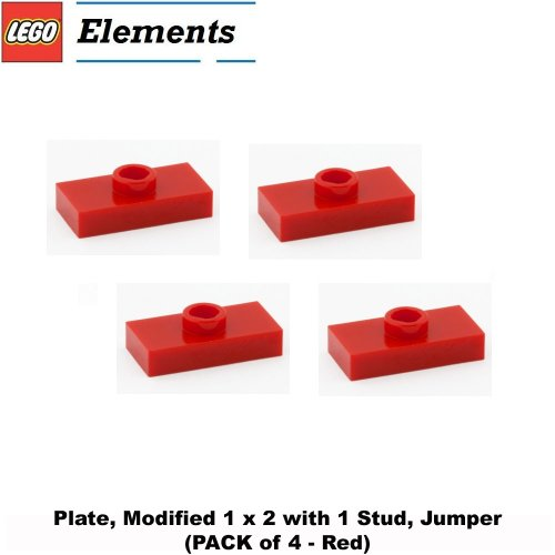 Lego-Parts-Plate-Modified-1-x-2-with-1-Stud-Jumper-PACK-of-4-Red