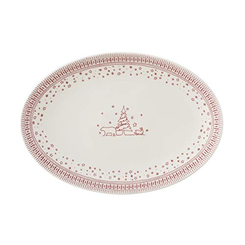 Ellen DeGeneres crafted by Royal Doulton 40034332 Holiday Collection Large Oval Platter 43cm, White/Red