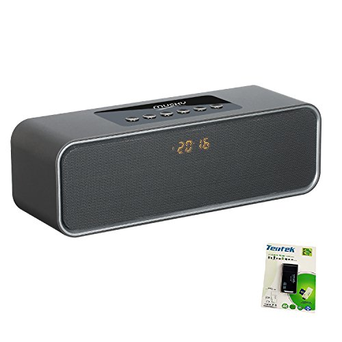 Portable Bluetooth Speaker, with10W Acoustic Driver, LED Display, FM Radio, Alarm Clock, Handsfree Speakerphone, Micro SD Card & USB & AUX-In Slots for Smart Phone, Tablet and More (Display Speakerphone)