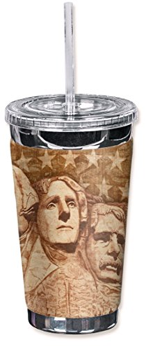 Mugzie brand 16-Ounce To Go Tumbler with Insulated Wetsuit Cover - Mount Rushmore
