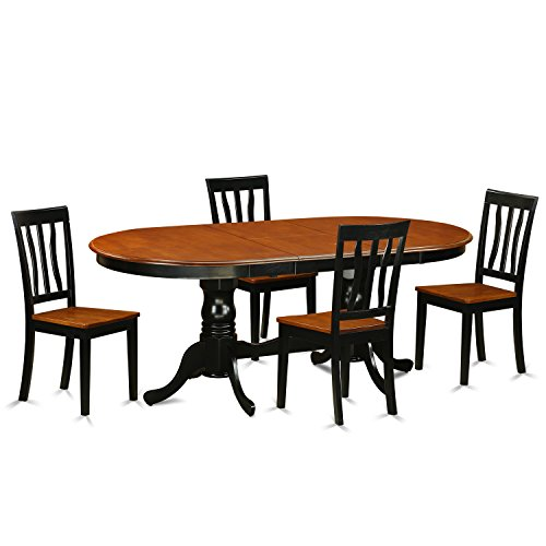 East West Furniture PLAN5-BCH-W 5 Piece Dining Table with 4 Solid Wood Chairs Set